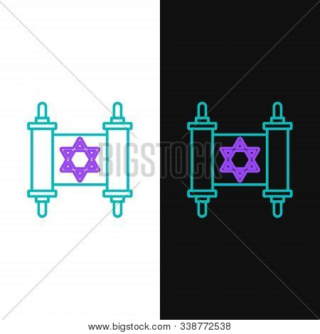 Green And Purple Line Torah Scroll Icon Isolated On White And Black Background. Jewish Torah In Expa