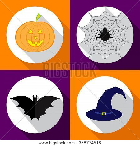 Helloween Icons Set. Vector Illustration For Halloween. Flat Design Style. Eps10.