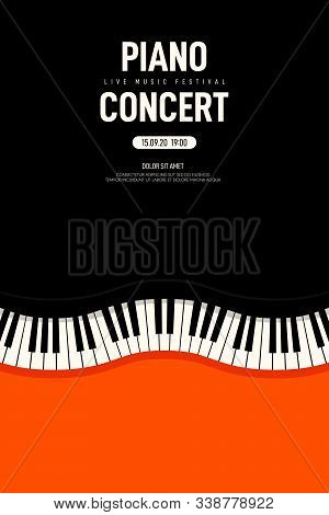 Piano Concert And Music Festival Poster Modern Vintage Retro Style. Graphic Design Template Can Be U