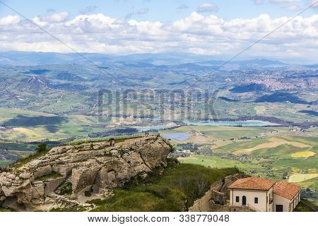 Picturesque Green Hilly Valley Near Enna City, Sicily, Italy. Nicoletti Lake And Leonforte Town On T