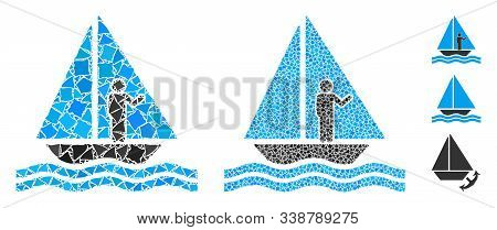 Aboard Yacht Icon Composition Of Inequal Items In Different Sizes And Color Tints, Based On Aboard Y