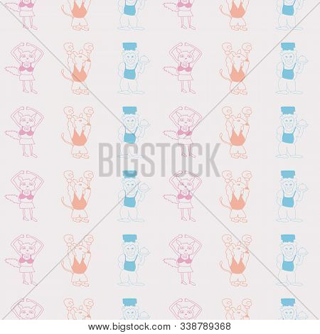 Vector White Pastel Tricolor Vertical Stripes Anthropomorphic Characters Seamless Pattern Background