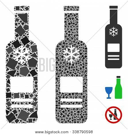 Cold Vodka Bottle Icon Mosaic Of Inequal Elements In Various Sizes And Color Tinges, Based On Cold V