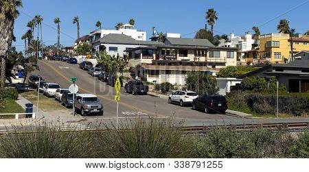 CARLSBAD, CA, UNITED STATES - NOVEMBER 09,2016: View of the beautiful street at the of Carlsbad,California,United States of America.