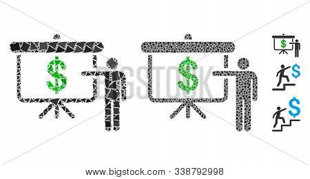 Financial Education Icon Mosaic Of Abrupt Elements In Different Sizes And Color Tinges, Based On Fin