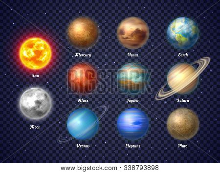 Colorful Sun, Moon And Nine Planets Of Solar System Isolated On Transparent Background. Galaxy Disco
