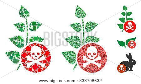 Herbicide Toxin Icon Composition Of Unequal Items In Variable Sizes And Color Tones, Based On Herbic