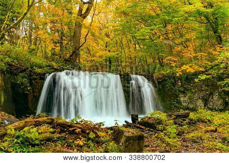 Choshi Otaki Waterfalls In The Colorful Foliage Of Autumn Forest At Oirase Gorge In Towada Hachimant