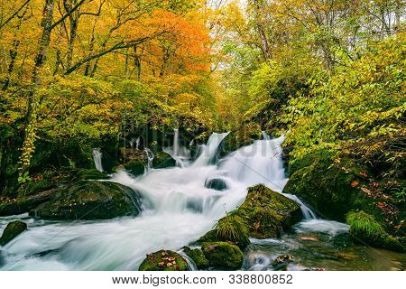 Waterfalls In The Oirase Mountain Stream In Colorful Foliage Of Autumn Forest At The Oirase Stream W