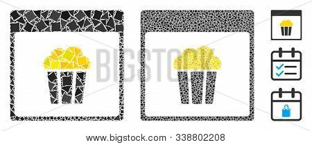 Popcorn Calendar Page Icon Composition Of Trembly Elements In Different Sizes And Color Tints, Based