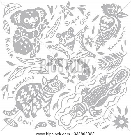 Set With Decorated Australian Animals And Bird In Vector. Koala Bear, Kookaburra, Sugar Glider, Tasm