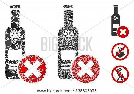 Stop Vodka Drinking Icon Composition Of Humpy Elements In Various Sizes And Color Tones, Based On St