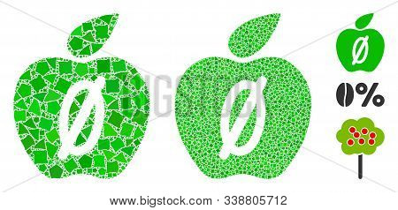 Zero Calories Apple Icon Mosaic Of Joggly Parts In Various Sizes And Color Tinges, Based On Zero Cal