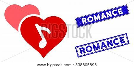 Flat Vector Romance Pictogram And Rectangle Romance Seal Stamps. A Simple Illustration Iconic Design