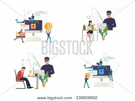 Hacking Or Phishing Set. Hacker Stealing Email And Credit Card Data. Flat Vector Illustrations. Cybe