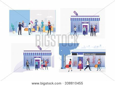 Set Of People Going Shopping. Flat Vector Illustrations Of Woman Shopping In Boutiques. Shopping Con