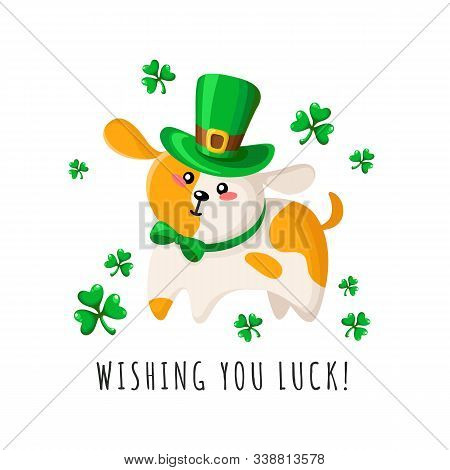 Saint Patricks Day Cartoon Cute Dog Or Puppy In Green Bowler Hat And Bow Tie, Shamrock Or Clover Lea