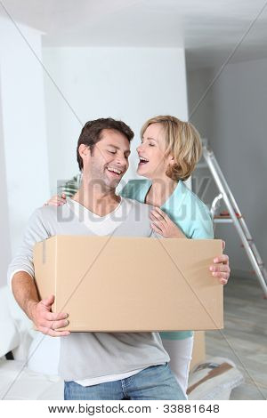 Couple setting up home