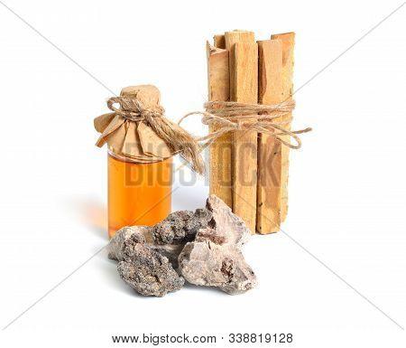 Palo Santo, Holy Wood Sticks Wit Incense Resin Isolated On White Background.