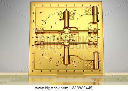 Front View Of Light Gold Bank Vault Door, Closed. The Door To The Bank Vault With A Lot Of Secret Me