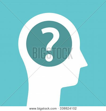 White Male Head Silhouette With One Big Question Mark. Hesitation, Guess, Psychology, Doub And Probl