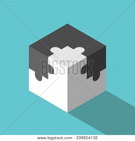 Isometric Jigsaw Puzzle Pieces Cube Assembled. Two Opposite Halves. Communication, Teamwork, Solutio
