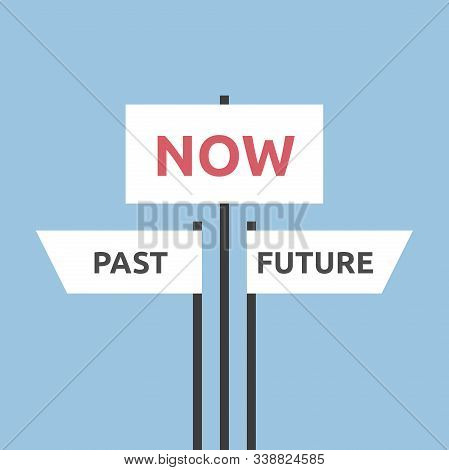 Past, Future And Now, Present Moment Directions Signs On Pale Blue. Focus, Destiny, Life, Psychology