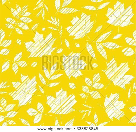The Leaves Of The Trees, Seamless Background, Yellow, Shading, Vector. White Leaves On A Yellow Fiel