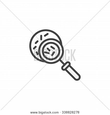 Magnifying Glass With Germs Line Icon. Linear Style Sign For Mobile Concept And Web Design. Virus Re