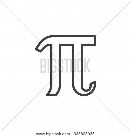 Mathematical Value Pi Line Icon. Linear Style Sign For Mobile Concept And Web Design. Pi Greek Lette