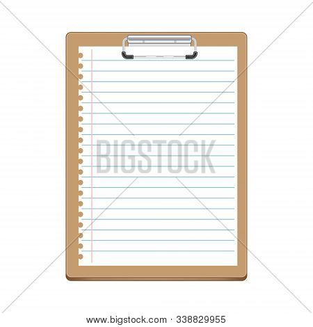 Beige Clipboard With Lined White Sheet Of Notebook. White Paper With Lines - Template For Notes, Che