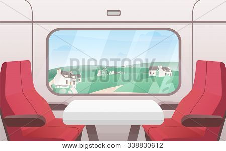 View From Train Window Flat Vector Illustration. Modern Railway Carriage Interior With Comfortable R