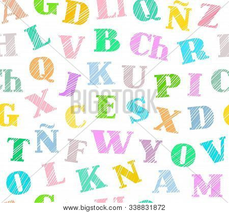 Spanish Alphabet, Seamless Pattern, Shading Pencil, White, Color, Vector. Spanish Alphabet. Shading
