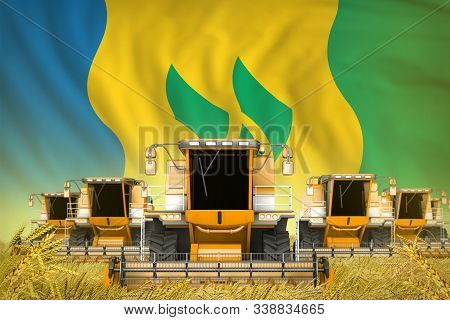 A Lot Of Yellow Farming Combine Harvesters On Farm Field With Saint Vincent And The Grenadines Flag