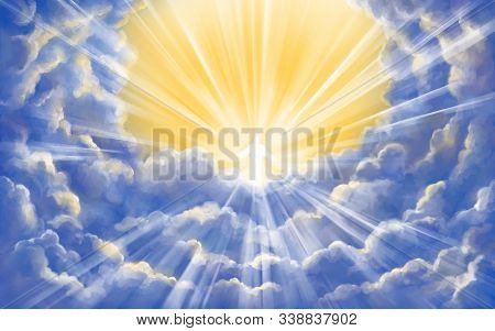 Jesus Christ Son Of God In Glory In Heaven, Meeting God, Paradise, Second Coming, Symbol Of Christia