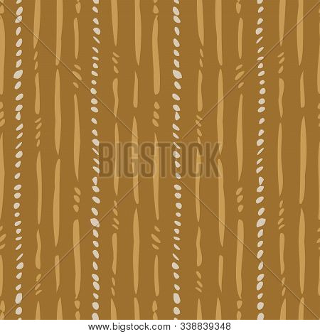 Withered Stem Stripes Seamless Vector Pattern. Loose Brush Strokes Of Broken Lines Representing With