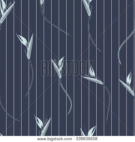 Bird Of Paradise Stripes Seamless Vector Pattern. Strelitzia Also Known As Bird Of Paradise Flower T