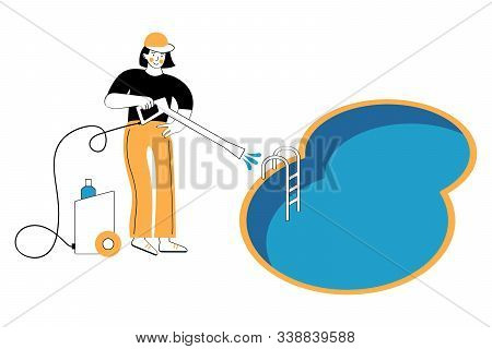 Swimming Pool Service Worker With Net Cleaning Water. Pool And Outdoor Cleaning, Swimming Pool Servi