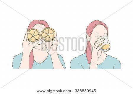 Playful Mood, Healthy Eating Habit, Drinking Juice Concept. Joyful Woman Covering Eyes With Orange H