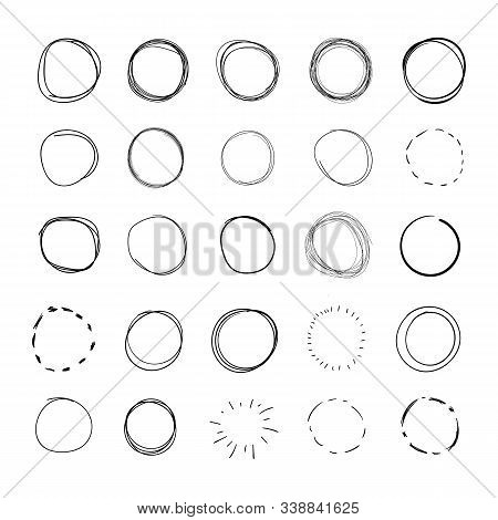 Vector Hand Drawn Circles, Round Scribble Lines Set Isolated On White Background, Black And White De