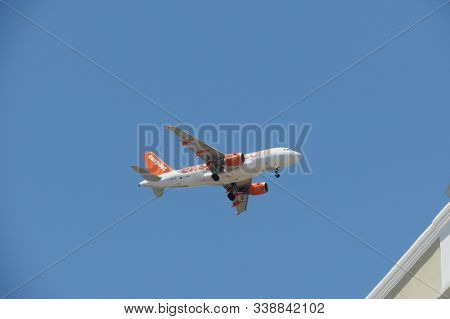 Lisbon, Portugal - Circa June 2015: Easyjet Airbus A319 Flying