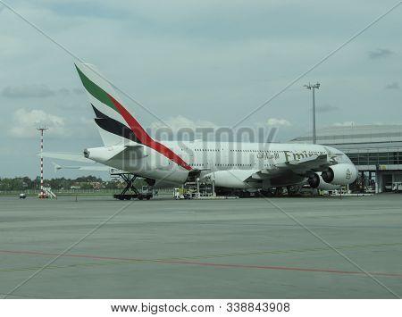 Milan Malpensa, Italy - Circa September 2019: World Biggest Passenger Aircraft Airbus A380 Of The Em