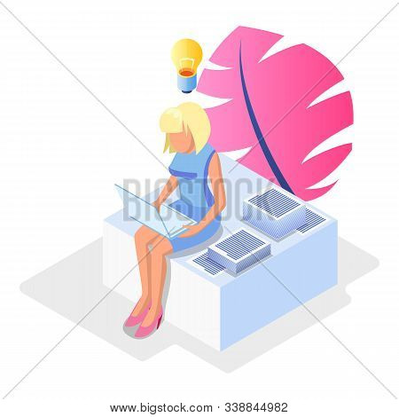 Blond Faceless Woman Sitting With Laptop Among Papers, Documents And Solving Problems, Deciding Issu