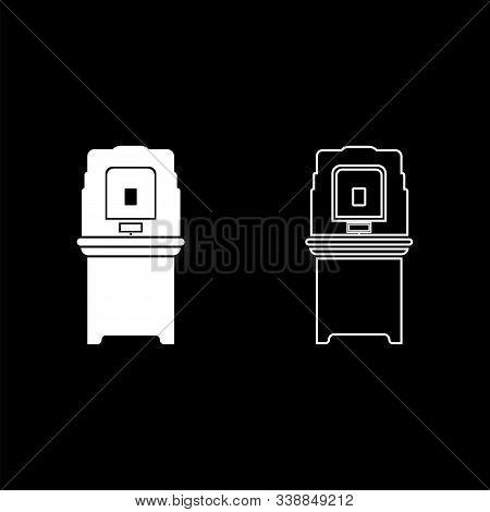 Electoral Voting Machine Electronic Evm Election Equipment Vvpat Icon Outline Set White Color Vector