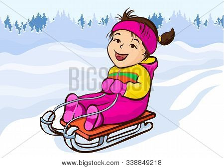 Girl Sledding, Cartoon Character, Hand Drawing, Winter Kids Fun. Cute Happy Child In Pink Jumpsuit J