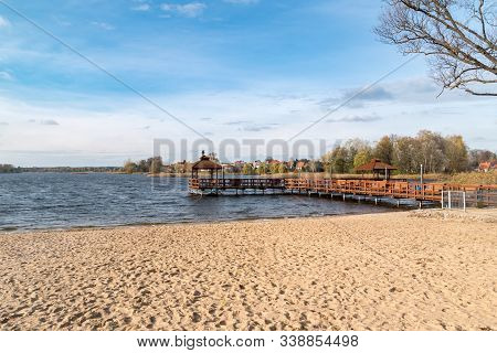Pier In Szczytno On Dlugie Lake In Poland.