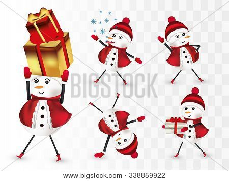 Collection Cheerful Snowmans. Christmas Characters. Snowman With Gift Present. Snowman In Red Wearin