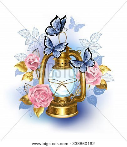 Kerosene, Antique, Brass Lamp Decorated With Pink, Blooming Roses And Blue Butterflies On White Back