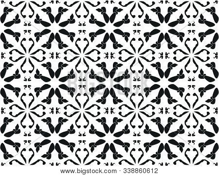 Seamless Pattern Black And White Ceramic Tile Design With Floral Ornate.endless Texture.vector Daisy