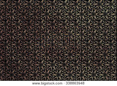 Golden Design With Floral Pattern On Black Base